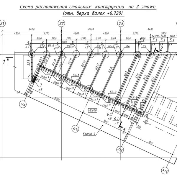 Схема расположения стальных конструкций на 2-ом этаже